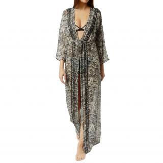 Evarae Silk Kimono Sleeve Printed Kaftan