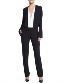 Haider Ackermann Black Long-sleeve Bicolor Jumpsuit