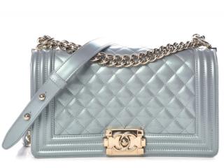Chanel Blue Iridescent Patent Boy Bag