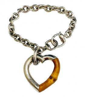 Gucci Silver & Bamboo Heart Bracelet