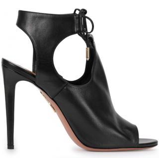 Aquazzura Jade 105 Black Leather Cut-out Sandals
