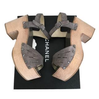 Chanel Grey Suede Wooden Platform Sandals