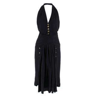 Chanel Boutique Black Silk Pleated Halterneck Dress