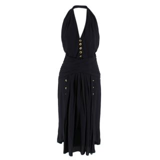 Chanel Boutique Black Silk Pleated Halterneck Dress