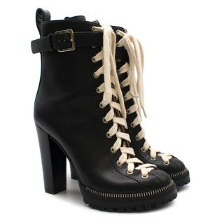 Sergio Rossi Black Platform Lace-Up Ankle Boots