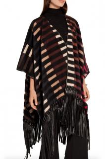 Fendi Striped Leather trim Camel Hair Blend Cape