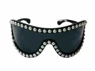 Chanel Faux Pearl Embellished Shield Sunglasses