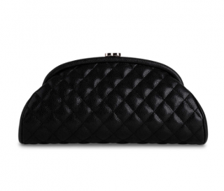 Chanel Black Quilted Caviar Leather Half Moon Clutch