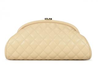 Chanel Beige Caviar Leather Half Moon Clutch
