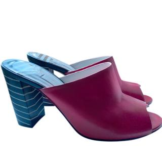 Lulu Guiness Red Leather Mules with Striped Heel