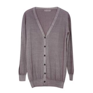 Prada Grey Merino Wool Cardigan