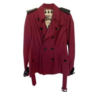 Burberry Prorsum Short Trench Jacket with Leather Details