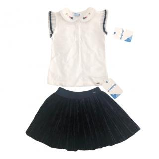 Mayoral Navy Girl's Skirt & Polo Top