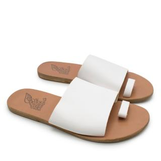 Ancient Greek Sandals White Leather Sandals