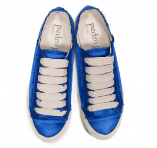 Pedro Garcia parson phat laced satin sneaker in electric blue