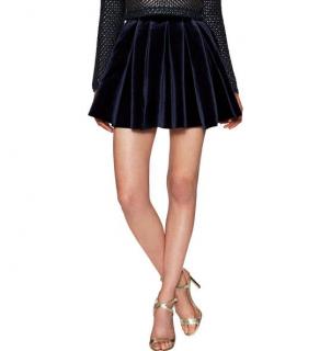 Maje Navy Velvet Pleated Mini Skirt