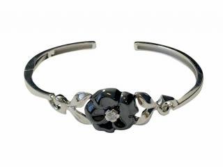 Chanel Camelia Galbe 18k Black Ceramic Diamond Bracelet