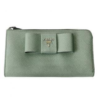 Prada Saffiano Fiocco Bow Zip Around Wallet