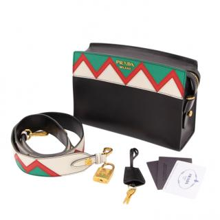 Prada Safiano Leather Black Geometric Trim Shoulder Bag