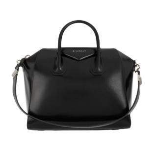 Givenchy Black Smooth Leather Antigona Tote Bag