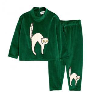 Mini Rodini Green Cat Patch Velour Set