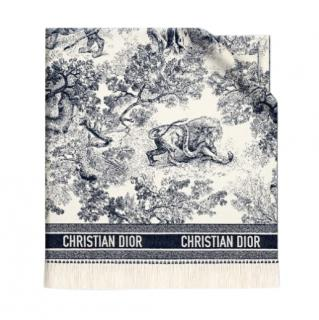Dior Toile De Jouy Blue Cashmere & Wool Throw