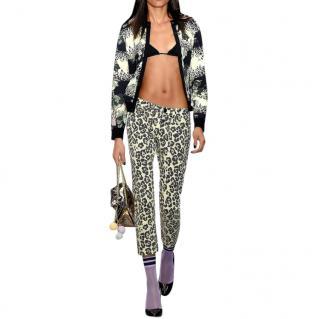 Sibling Leopard-print lace-up mid-rise slim-leg jeans