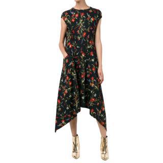 Balenciaga floral print asymmetric dress