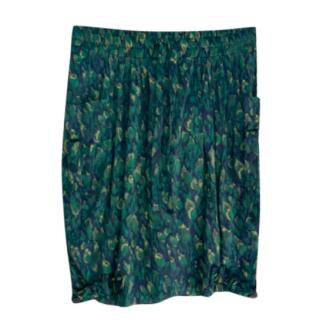 Donna Karan Green Leaf Print Skirt