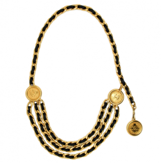 Chanel Vintage Black Three Tier Medallion Chain Belt/Necklace
