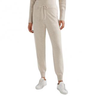 Theory Cream Cashmere Blend Relaxed Track Pants