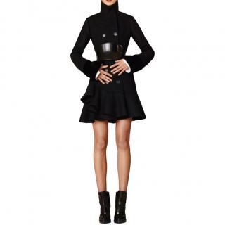 Alexander McQueen Black Peplum Wool Coat