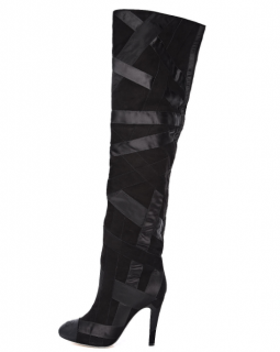 Chanel Black Suede & Grosgrain Patchwork Over The Knee Boots
