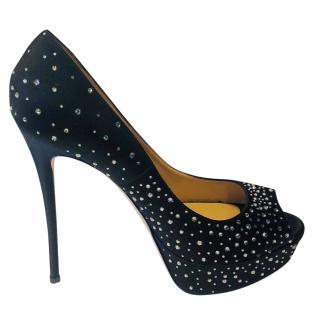 Valentino Black Crystal Embellished Peep-Toe Pumps
