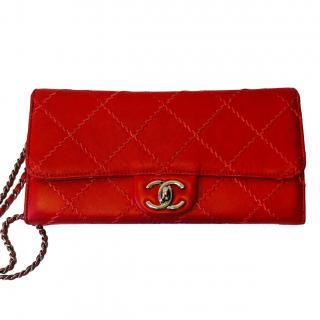Chanel Red Diamond Stitch Detail Shoulder Bag