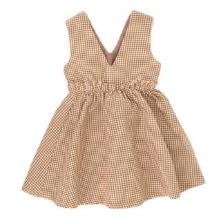 Minilette oahu houndstooth brown & white dress
