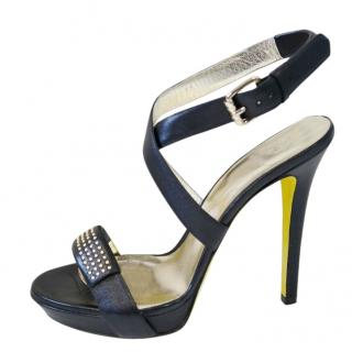 Versace Black Studded Crossover Sandals