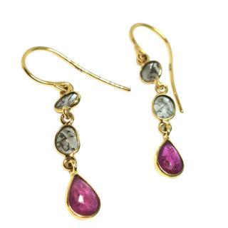 Fragments Diamond & Ruby Drop Earrings