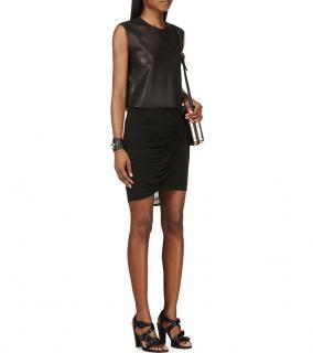 Helmut Lang Black Twist Draped Skirt