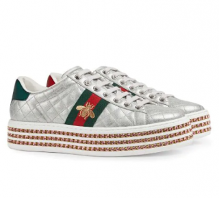 Gucci Ace Sneaker With Crystals in Silver