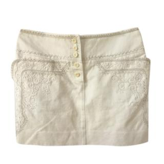Chloe Cream Embroidered Mini Skirt