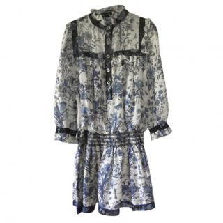 Gucci Blue Porcelain Print Ruffle Collar Dress