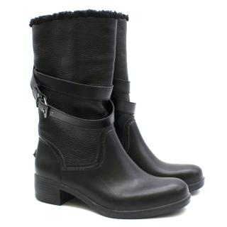 Coach Black Shearling Lined Leather Tall Boots