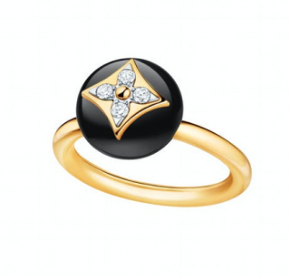 Louis Vuitton Onyx, Diamond & Yellow Gold B Blossom Ring