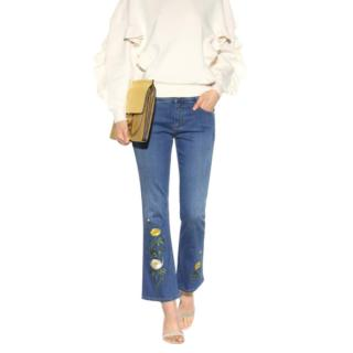 Stella McCartney Floral Embroidered Ankle Crop Jeans