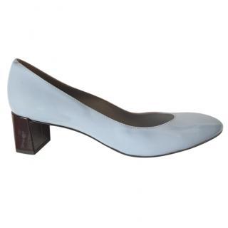 Fendi Eloise Patent Block Heel Pumps in Sky Blue