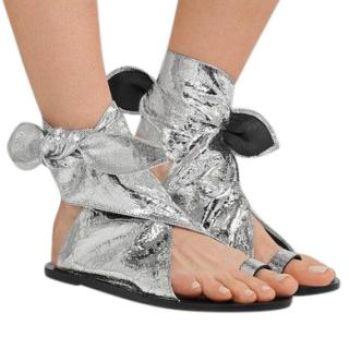 Isabel Marant Textured Silver Maheo Sandals