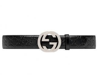 Gucci Black Signature GG Belt - Size 100