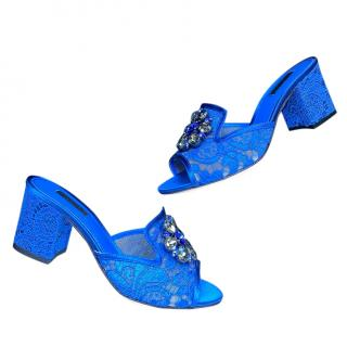Dolce & Gabbana Blue Crystal Embellished Corded Lace Mules