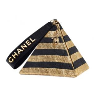 Chanel Pyramid Bag in Metallic Gold & Black Lambskin
